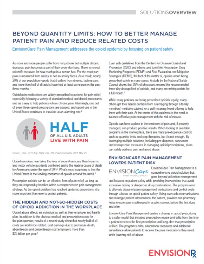EnvisionCare Pain solution sheet image